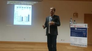 O Prof. Marcelo Einicker Lamas, Chefe do LaBiom, apresentando sua Conferência em uma das sessões do 4th International Caparica Conference on Urine OMICS and Translational Nephrology, realizado em setembro de 2019 na Cidade de Lisboa, Portugal. O Professor Marcelo esteve no evento como Conferencista Convidado.